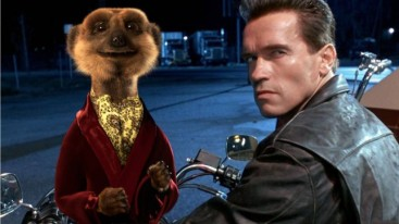 Arnold Schwarzenegger with a Compare the Market Meerkat